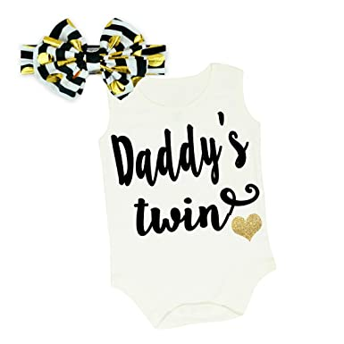 150cc6f6a8250 G&G - Cute Glitter Baby Girl Daddys Twin Clothing Set Outfit Black Gold (0-