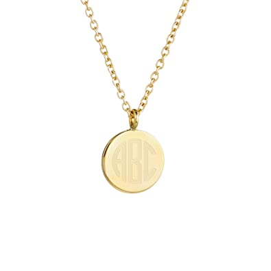 Amazon brook york engravable gold plated disc pendant brook york engravable gold plated disc pendant initials necklace 12 inch wide aloadofball Image collections
