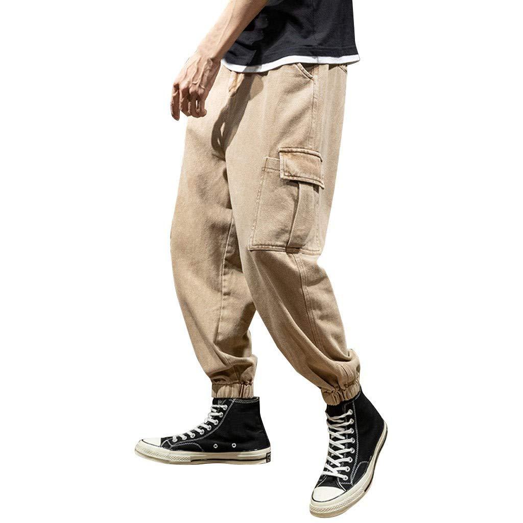 Men's Jogger Harem Pants - Men Casual Solid Color Ankle-Length Cargo Trousers - Multi Pocket Wide Leg Sports Sweatpants by Leadmall