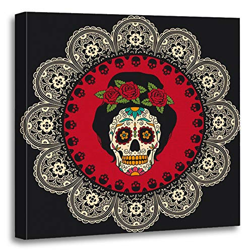 Emvency Painting Canvas Print Artwork Decorative Print Yellow Day with Mexican Skull Girl Dead Tattoo Catrina Sugar Lace Comic Woman Wooden Frame 16x16 inches Wall Art for Home Decor ()