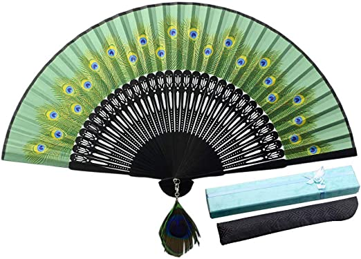 Chinese Bamboo Folding Fan  Hand Fan Peacock design with gift box and sack
