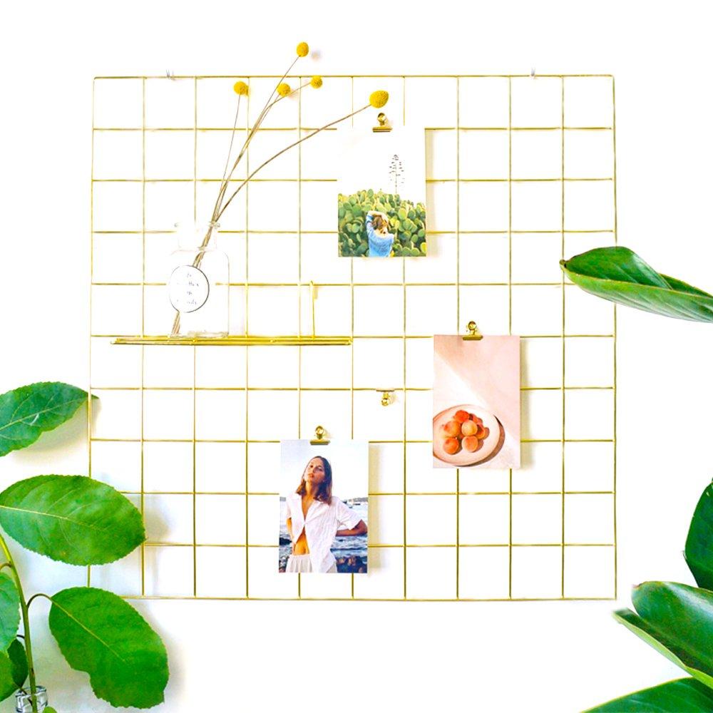 AceList Gold Wire Wall Grid,Multipurpose Artwork Organizer Metal Frame Mesh Photo Display for Memo Photograph