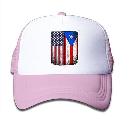 DNUPUP Kid's Vintage USA Puerto Rico Flag Adjustable Casual Cool Baseball Cap Mesh Hat Trucker Caps