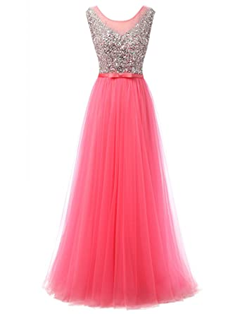 Erosebridal Sheer Beaded Sequin Long Prom Dress Gowns Open Back Evening Formal Dress for Women at Amazon Womens Clothing store: