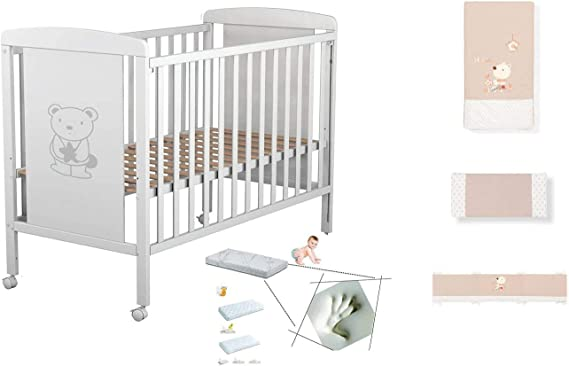 Cuna de bebe Star Ibaby Dreams Sweet. 3 posiciones de somier. Lateral abatible + Colchón Viscoelastica + Coordinado de Cuna Completo