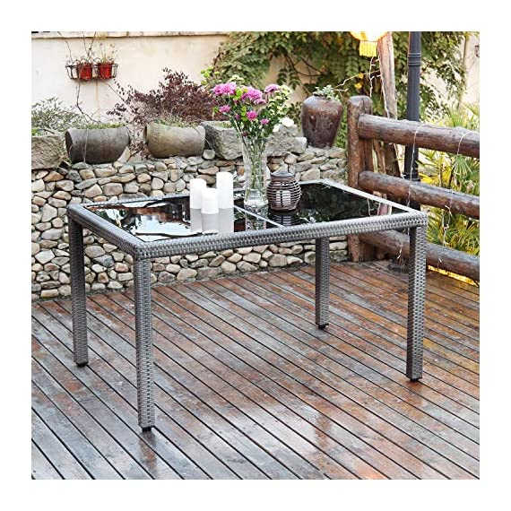 Aok Garden 7-Piece Outdoor Furniture Wicker Square Patio Dining Set Furniture with 6 Chairs - Grey - 【Beautiful & Practical】Strong steel frame with all-weather PE rattan wickers, durable for outdoor use. The environmental protection PE rattan, good toughness, could anti-aging, not perishable. Easy assembly required with included hardware 【Ergonomically Designed for Comfort】- This outdoor Rattan Dining Furniture set comes with sponge padded seat cushions and back cushions. Designed with comfort in mind, it has extra wide seat width and depth perfect for lounging 【Easy to Clean】Table with removable tempered glass adds a sophisticated touch and allows you to places drinks, meals and other accessories on top. And you can clean it easily with just a wipe when there is water strain on it. The separable seat cushion also enables you a quick wash - patio-furniture, dining-sets-patio-funiture, patio - 61fe862YLyL. SS570  -