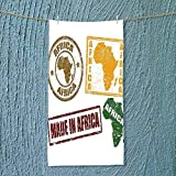 SOCOMIMI Absorbent Towel Set of Grunge Rubber Stamps Made in Africa Quote Inside Authentic Labels Theme Soft Cotton Durable