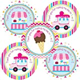 ice cream labels - Ice Cream Party Thank You Sticker Labels - Girls Party Favor Labels and Envelope Seals - Set of 30