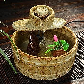 Swdg Fuente cerámica Regalo Creativo Dispositivo humidificador, Acuario 30 * 30 * 23cm,D: Amazon.es: Hogar