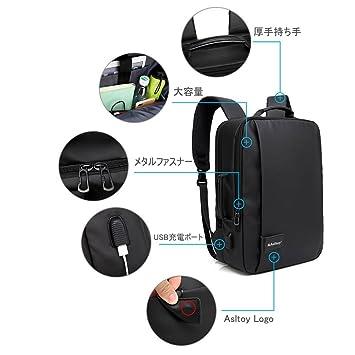 18566338d7cfb1 Amazon | Asltoy ビジネスリュック バックパック ビジネスバッグ 3Way 手提げ PC リュック メンズ リュックサック パソコン  バッグ 15.6インチ USB充電ポート ...