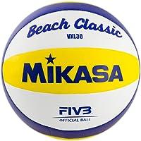 MIKASA 1623 Beach Classic VXL 30 - Pelota de Volley Playa (tamaño 5), Color Blanco, Azul y Amarillo