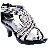 Link Angel Little Girls Rhinestone Heel Platform Dress Sandals Shoes