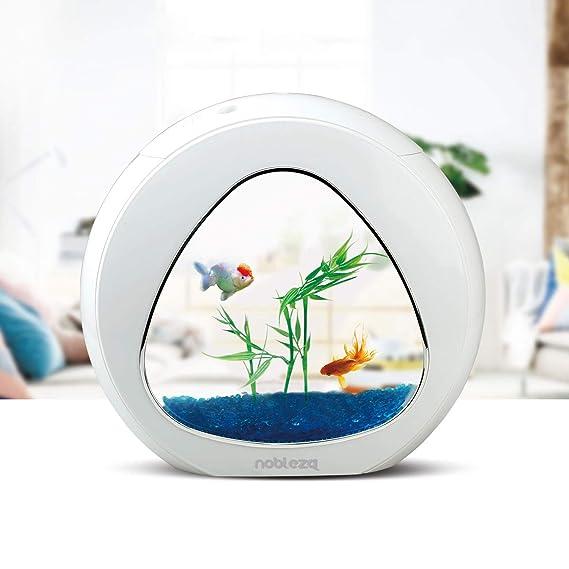 Nobleza - Acuario pecera de diseño Moderno con Ventana de Cristal y luz LED, Color Blanco. Capacidad de 4L: Amazon.es: Productos para mascotas
