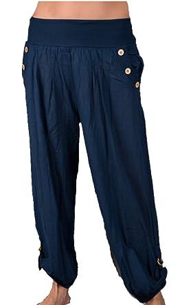 Grisodonna Style Damen Sommer bequeme leichte Harem Hose Haremshose Pumphose  Capri Bermudas Shorts 34 36 38 4ac1a50b8d