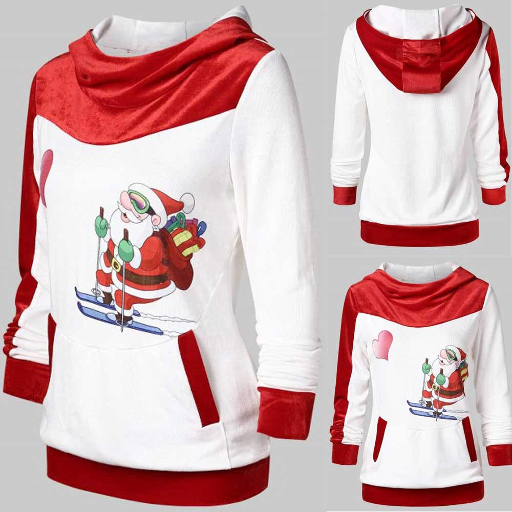 Kstare Women Christmas Fashion Party Velvet Print Hoodie Dress Ladies Party Blouse Pullover Tops