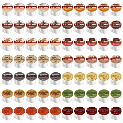 70-count Single Cups for Keurig K Cup Brewers - Variety Pack of Guy Fieri & Cake Boss Coffees
