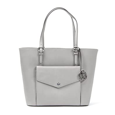 fd059cda4182 Amazon.com: Michael Kors Jet Set Large Saffiano Leather Snap Pocket Tote in  Pearl Grey/silver: Shoes