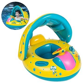 Hongtianyuan Flotador para bebé Barco Inflable Flotador con Asiento Techo del Sol,Barca bebé de