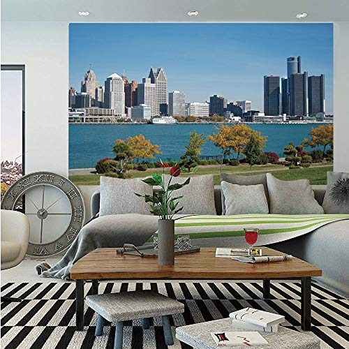 Detroit Decor Wall Mural,Industrial City Center Shoreline River Scenic Panoramic View Sunny Day Decorative,Self-Adhesive Large Wallpaper for Home Decor 83x120 inches,Blue Green Silver ()
