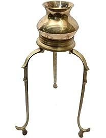 SwadesiBuyzzar Brass Abhishek Stand with Lota (11 cm x 6 cm x 11 cm,Golden)
