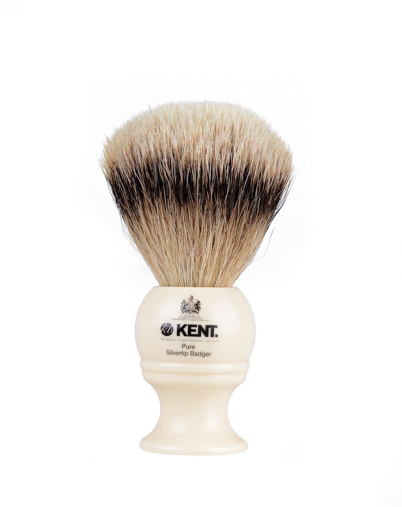Kent BK4 Cream Traditional Small Silver Tip Badger Shave Brush by KENT