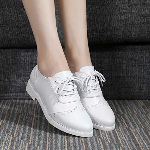 Stitching Pointed Comfy Toe Heel Women's Lace Low Aisun White Up Sneakers x4U1gn