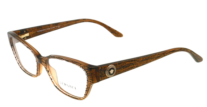 206ce227a20c Amazon.com: Versace Eyeglasses VE 3172 Eyeglasses 991 Lizard Brown 54mm:  Versace: Clothing