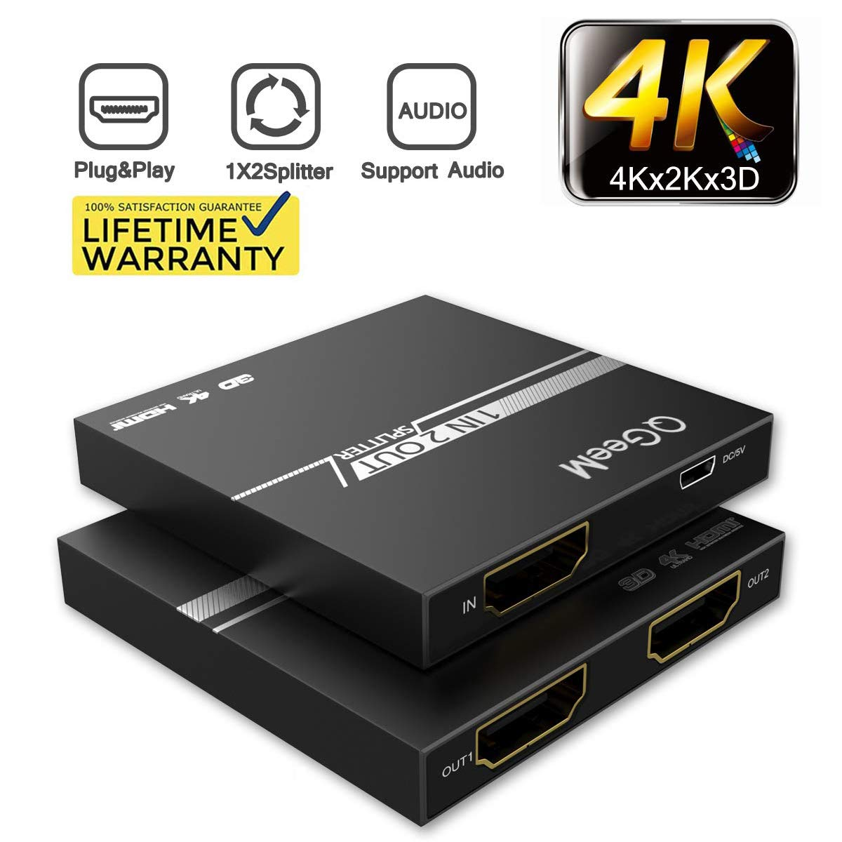 2019 Updated HDMI Splitter Ultra Thin 4K 1 in 2 Out, QGeeM, 1x2 HDMI Splitter for PS 4、Xbox、Apple Tv、Stb、Blu-Ray DVD Players and More(Vk-102S)