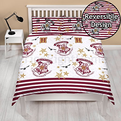 Harry Potter Duvet Covre with Matching Pillow Case - Two Sided Hogwarts Muggle Bedding Design, Microfibre, White, Double (Duvet Cover Harry Potter)