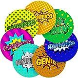 "Spanish Lessons Motivational Words Superhero Comic Reward Sticker Labels, 12 x 2.5"" inch, Glossy Photo Quality"