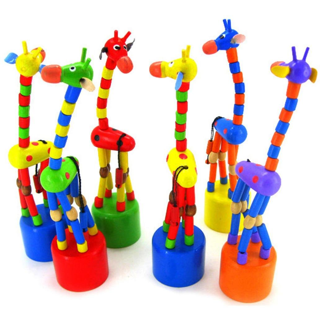 ManxiVoo Kids Intelligence Toy Dancing Stand Colorful Rocking Giraffe Wooden Toy