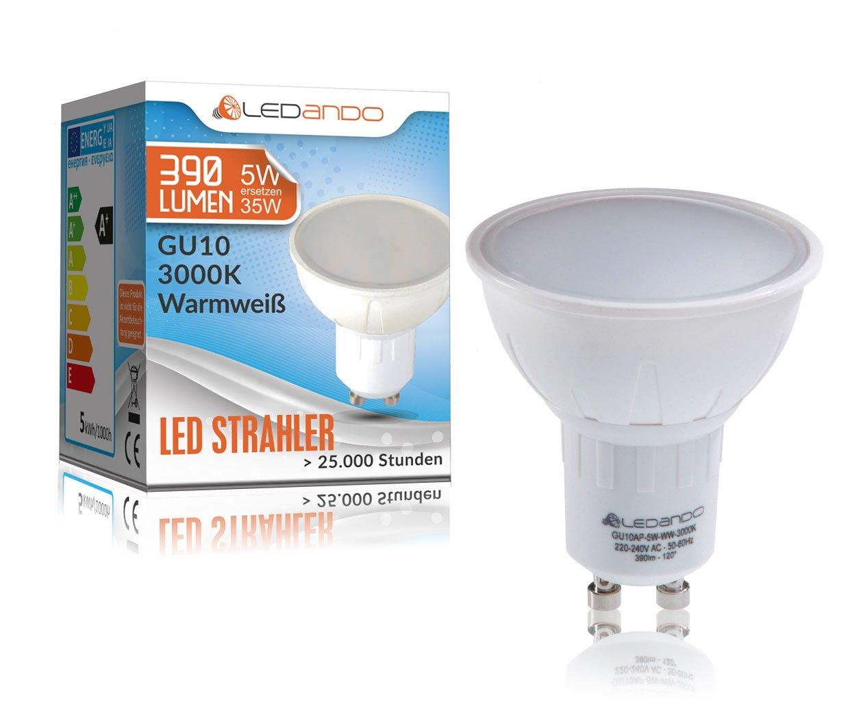 LEDANDO LED GU10 Strahler - 5Watt SMD Leuchtmittel (35W Ersatz) LED ...