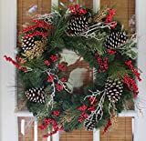 Somerset Winter Red Berry Christmas Wreath 24 Inch - Outdoor (Small Image)