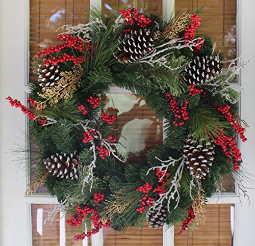 Somerset Winter Red Berry Christmas Wreath 24 Inch - Outdoor (Large Image)