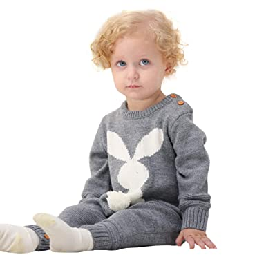 d999d06dea0c chinatera Baby Sweater Romper Infant Bunny Jumpsuits Toddler Knitted  Outfits for Easter Christmas Fall Winter