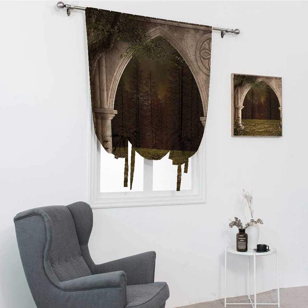 "Gothic Decor Window Shades, Old Retro Arch in Garden Renaissance Meadow Forest Dark Scary Design Image Rod Pocket Panel, Green Beige, 42"" x 72"""