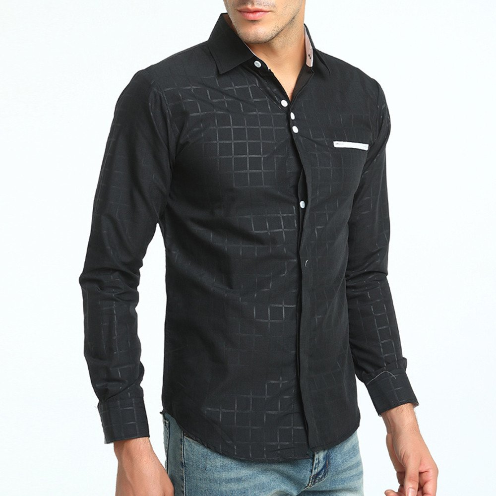 d71bb2c5f Birdfly Men Fashion Plaid Vein Business Casual Half-Sleeved Dress Shirt Top  Blouse Black at Amazon Men's Clothing store: