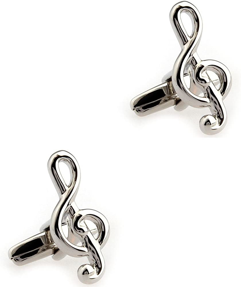CIFIDET Fashion Mens Silver Musical Note Shirt Cufflinks With Gift Box