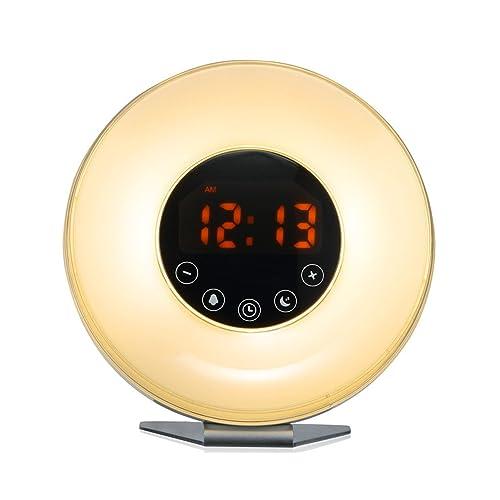 Bioxo Sunrise Simulation Alarm Clock, 6 Colors Atmosphere Lamp Wake-up Light, 10-Brightness Bedside Light, Touch Control Morning Alarm Light with Nature Sounds & FM Radio