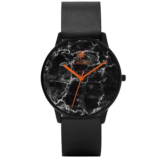 Relojes Calgary Orange Marble - Reloj con Correa de Piel Negra, Esfera con Estampado de