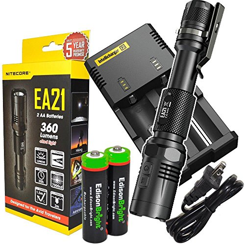 Nitecore EA21 360 Lumen CREE XP-G2 LED compact AA flashlight with Nitecore i2 smart charger, holster, clip, lanyard and 2 X EdisonBright AA Ni-Mh batteries