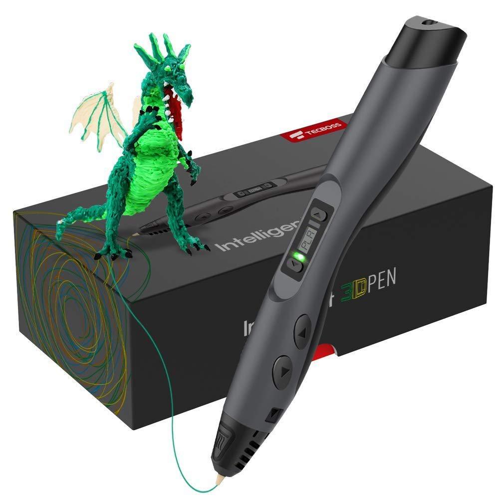 Tecboss 3D Pen w/PLA Filament Refills, Professional 3D Printing Pen with OLED Display, USB Charging, Temperature Control, 8 Speed Printing Control QP0028