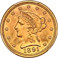 1891 P $2.50 Liberty Gold Two and a half Dollar MS67 PCGS+\CAC