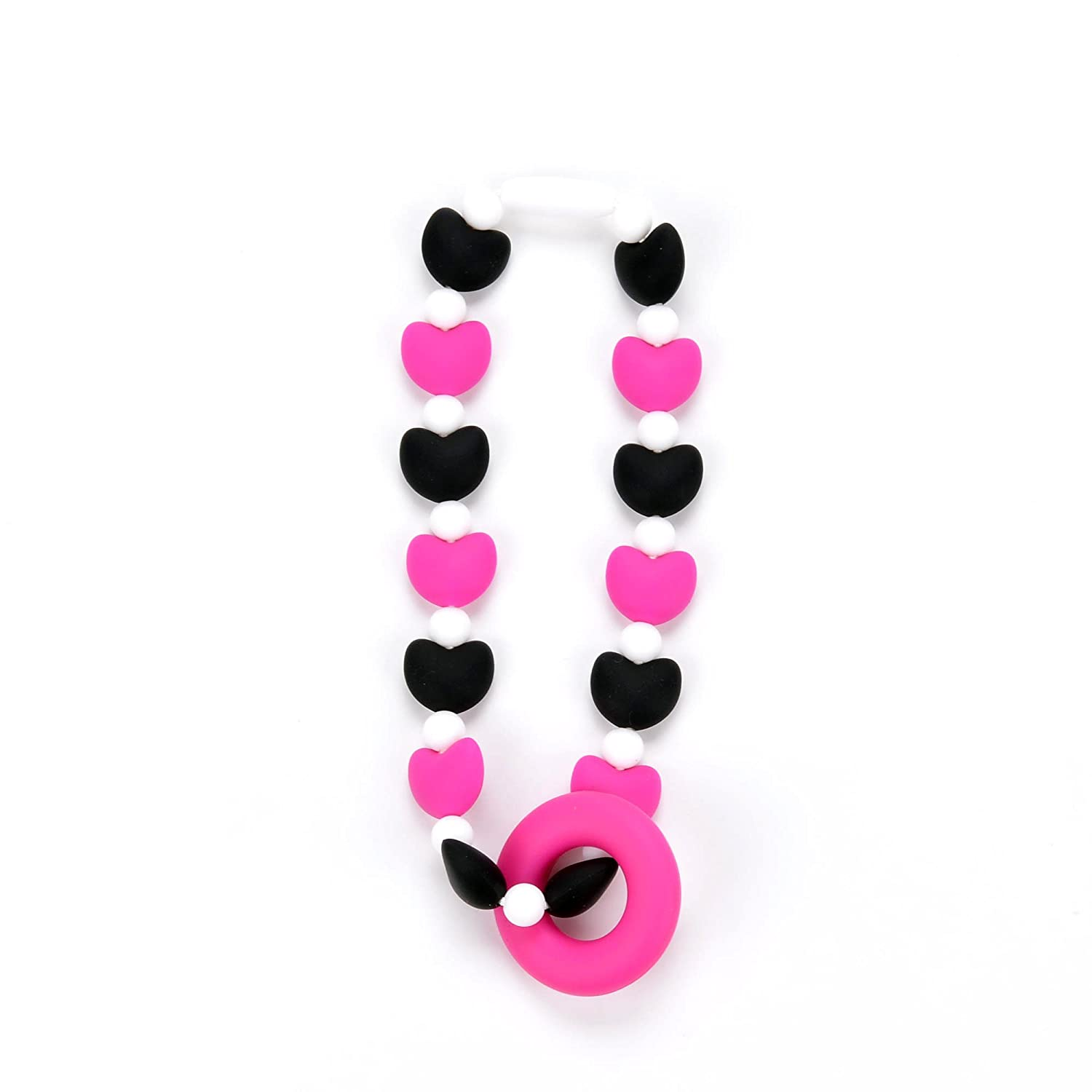 Stroller or Diaper Bag Nummy Beads Pink Hearts Teether Toy Attaches to Baby Carrier Car Seat High Chair