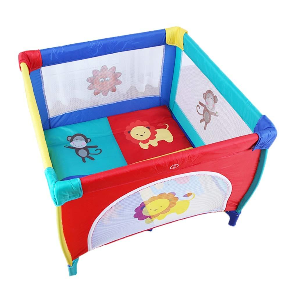 ベビーサークル 折りたたみベビーベビーサークル屋内、小さな子供用プレイフェンス幼児用遊び場4パネルキッズ安全活動センター、100×100×76センチ (色 : カラフル)  カラフル B07MR5Z4MY