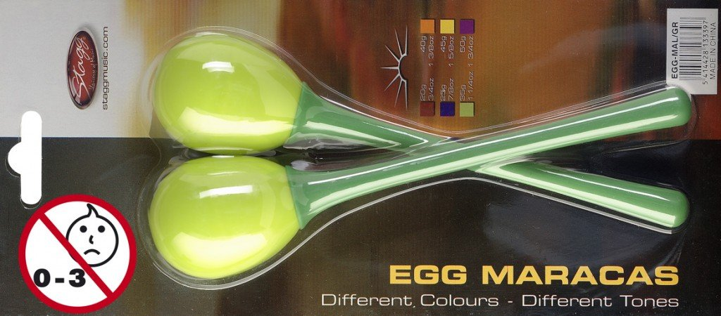 Stagg EGG-MA Plastic Egg Maracas Pair with Long Handle - Green by Stagg
