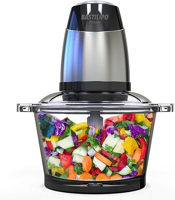 Bastilipo PE-350 Picadora electrica de alimentos de 350w y capacidad de 1,2l, 1.2 litros, Stainless Steel housing, Negro