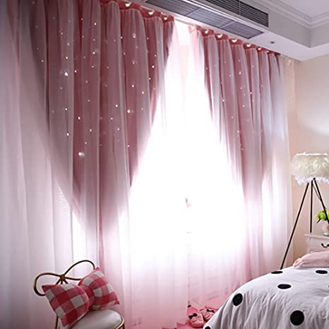 1PCS Hollow Out Star Style Window Voile Tulle Curtain Sheer Panels Bedroom Living Room Decor for Bedroom Living Room Decor A