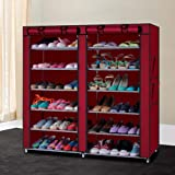 DONDA Multipurpose Portable Folding Double Dustproof and Damperproof 12 Tiers Shoes Rack with Cover for Home Shoe Rack for Home (Multi Color)