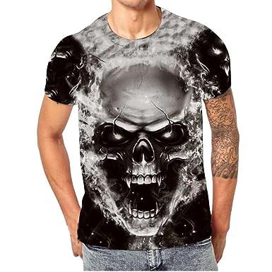 7bee9c103eb1 Elogoog Clearance! Summer Short Sleeve Tee 2018 Printing Blue Big Skull 3D  Casual Men T
